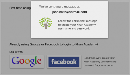 Khan Academy - Email Confirmation Notification