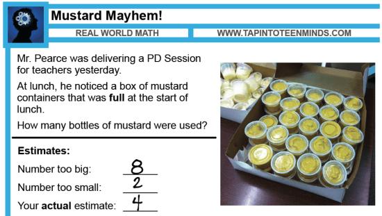 Mustard Mayhem 3 Act Math Task Solutions