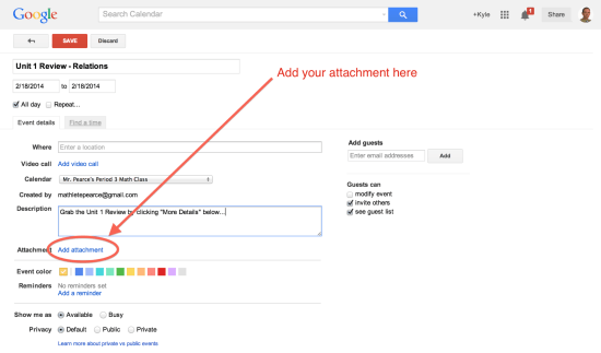 Click the Add Attachment Button in Google Calendar