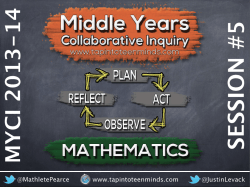 Middle Years Collaborative Inquiry (MYCI) Session 5 Resources