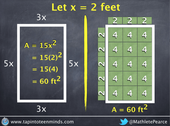 Tapping It Up A Notch | Pool Noodles | Area of Left Rectangle With x=2