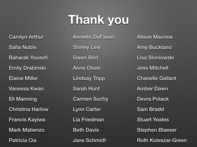list of 33 people, see: http://tararobertson.ca/2016/thank-you/