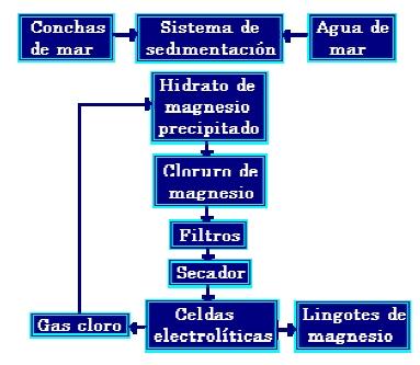 Diagrama de la producción del Magnesio