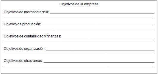 Formato para definir los objetivos de la empresa por área funcional