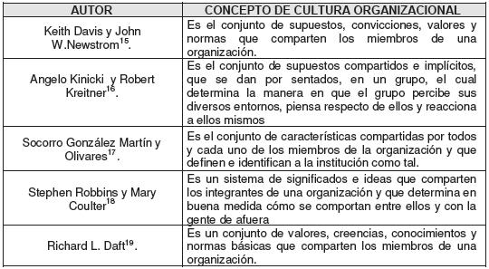 Diversos conceptos de cultura organizacional