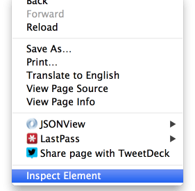 Google chrome context menu