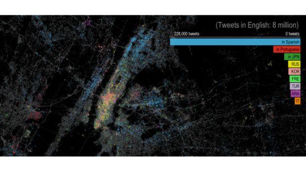 nytwittermap650 Um mapa de Nova York, de acordo com os idiomas dos tweets