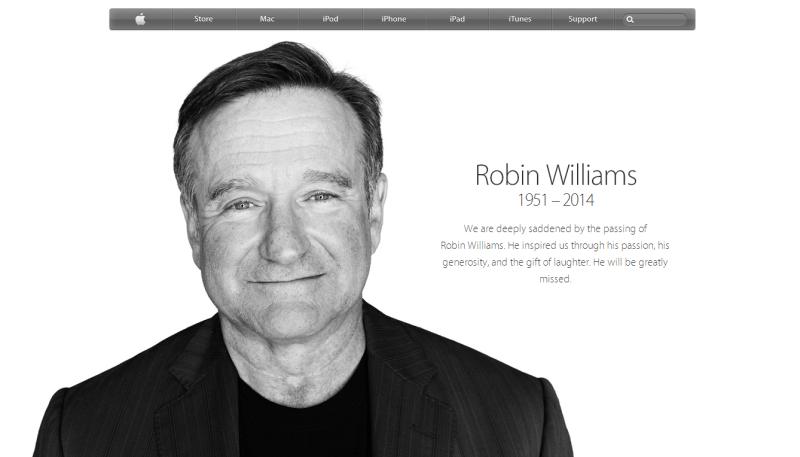 apple robin williams Apple presta homenagem para Robin Williams em seu site oficial