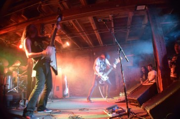 Pictured left to right: Thomas Jager (guitar/vocals) and Mika Hakki (drum) from the band Monolord shredding for the crowd in Purgatory at The Masquerade.