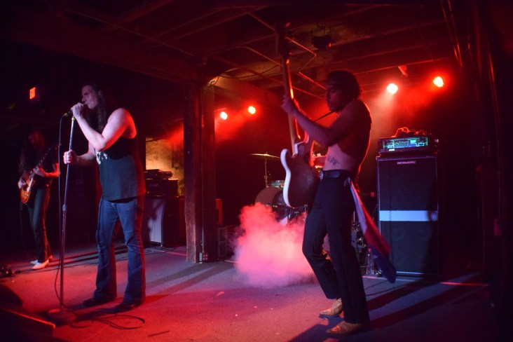 Pictured left to right: Cody (vocals) and Shock (bass) from the band Sweat Lodge.