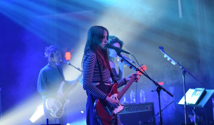 Pictured left to right: Jenny Lee Lindberg, Theresa Wayman, and Emily Kokal from the band Warpaint during their most recent stop at Terminal West in Atlanta.