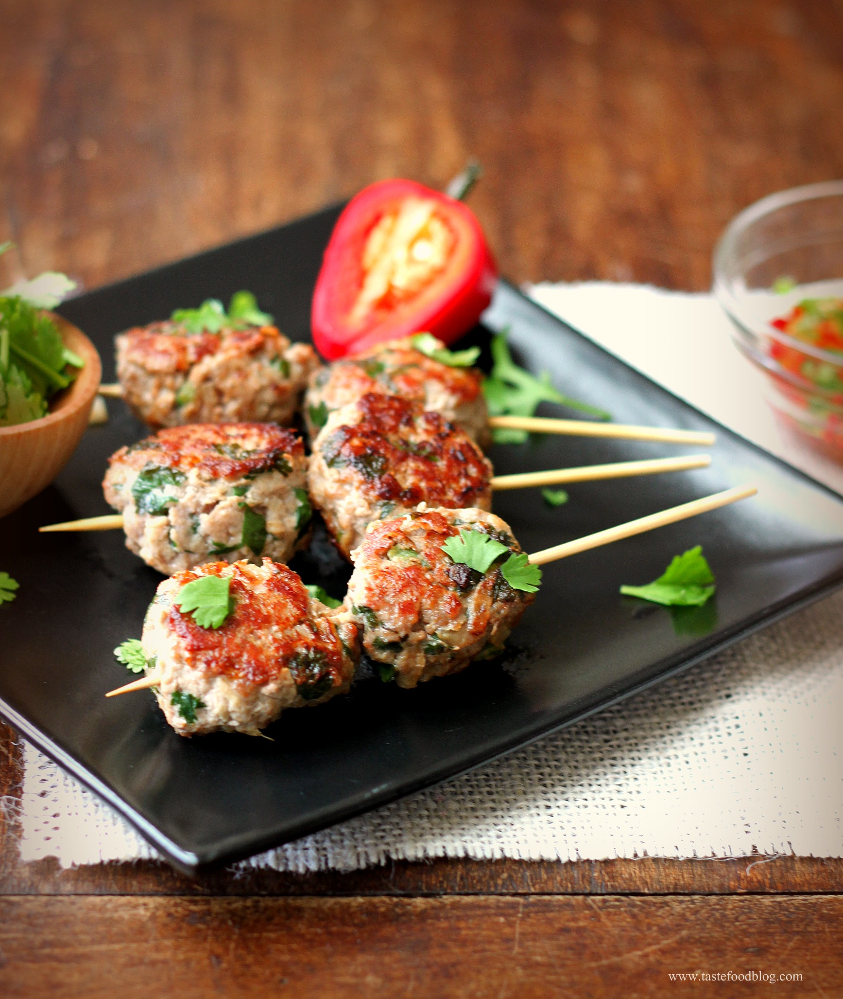 Riveting On A Chinese Meatballs Tastefood Food On A Stick Fair Food On A Stick Images A Recipe nice food Food On A Stick