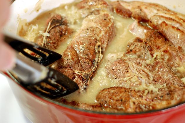 Paleo Flavorful German Pork Chops and Sauerkraut