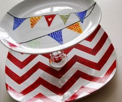 $5 Challenge — 3 different Dollar Store Tiered Tray Ideas {and a Chevron stencil printable}