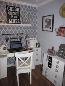 stenciled craft room