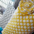 geometric pillow and flower