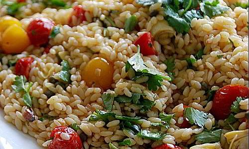 artichoke orzo pasta salad header