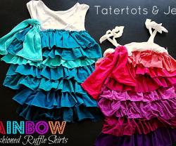 Rainbow Refashioned Ruffle Shirts
