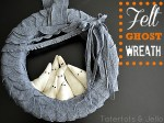 Halloween Felt Ghost Wreath and Printable Scallop Template
