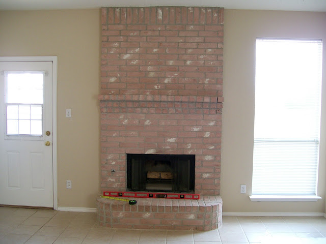 Brick Fireplace Makeover Before and After 640 x 480