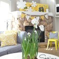 spring navy and yellow mantel