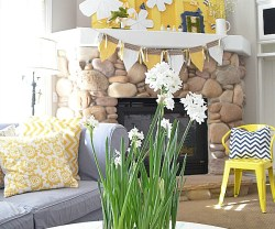 Spring Wood Shim Flower and Bunting Mantel!