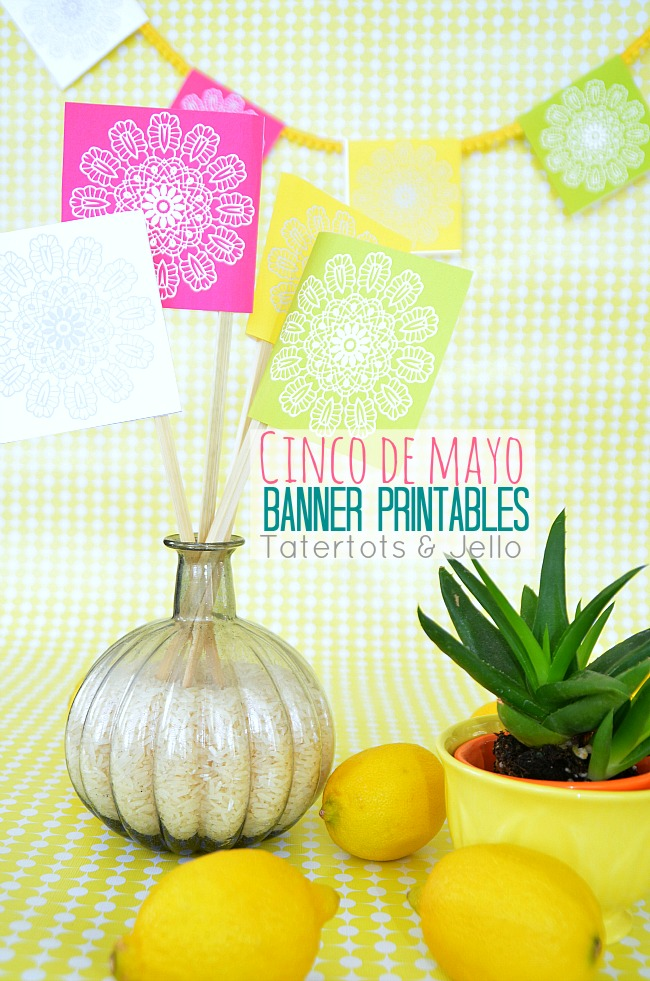 cinco de mayo free bunting printables at Tatertots and Jello