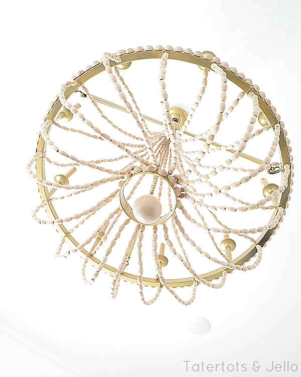 underside of the DIY beaded chandelier