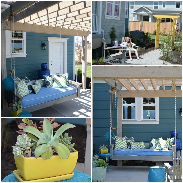 outdoor swing and trellis