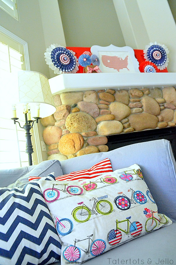 patriotic lolly and us map mantel at tatertots and Jello
