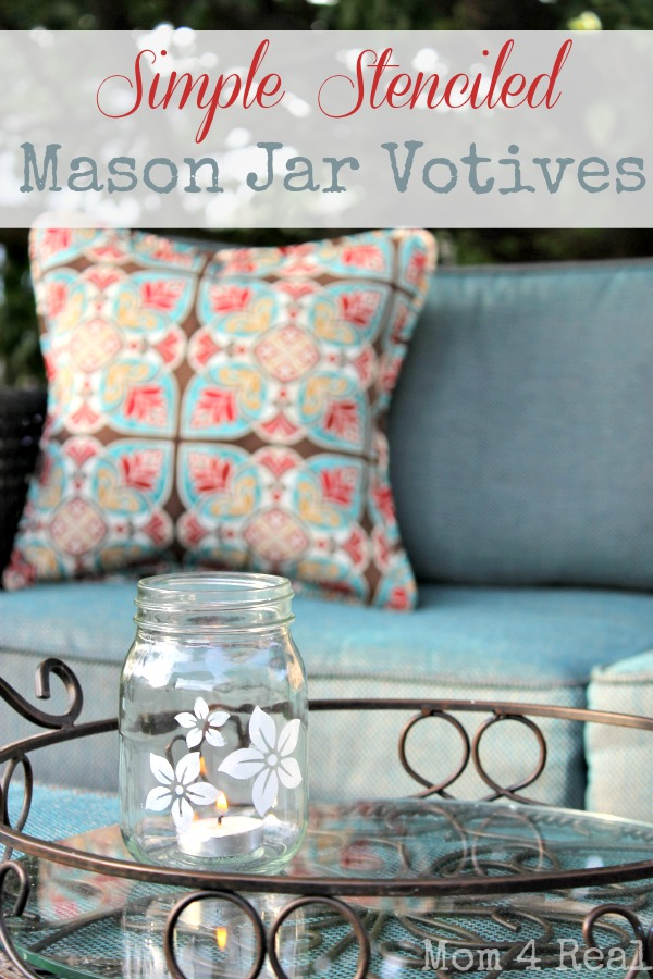 stenciled mason jar votive