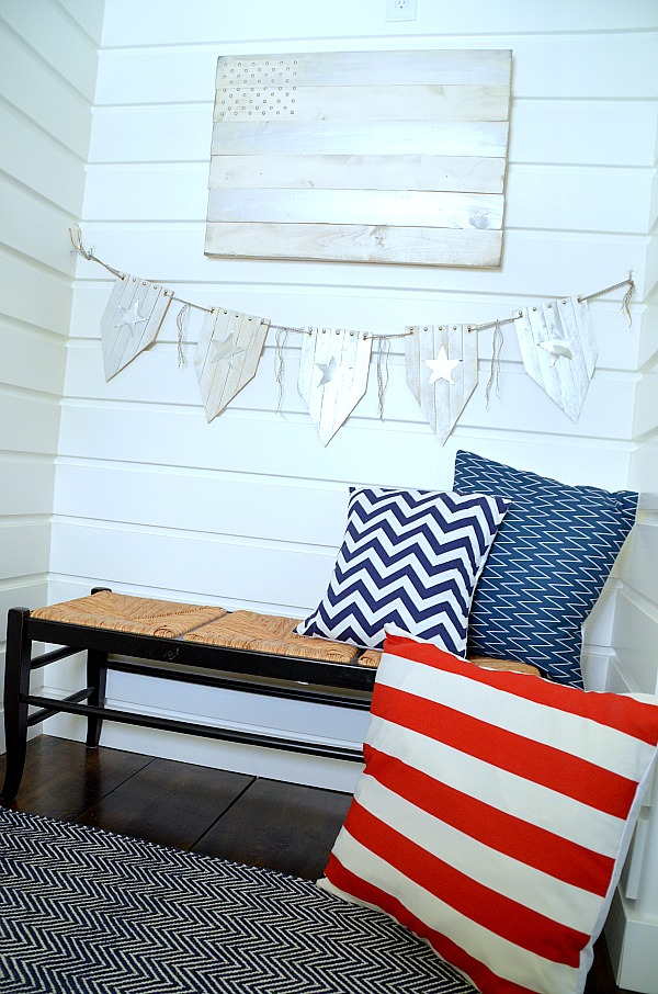 Patriotic wood flag and wood shim bunting