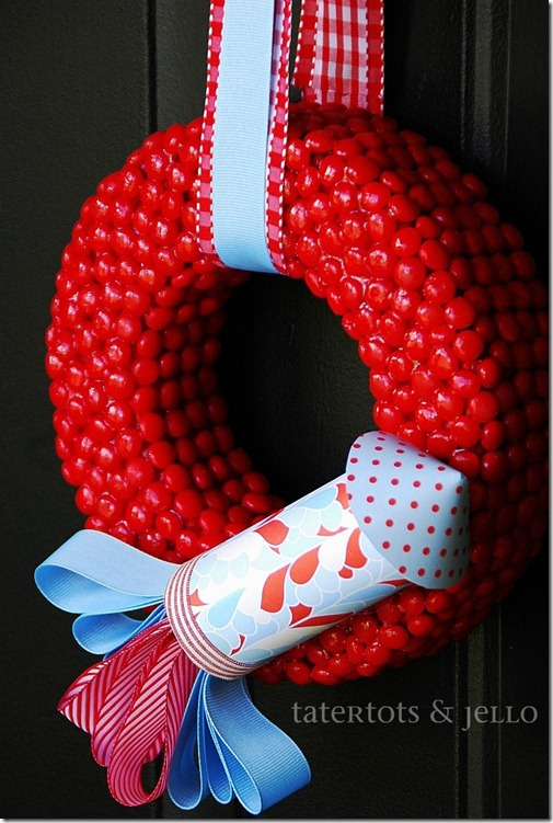 red hots and blue wreath