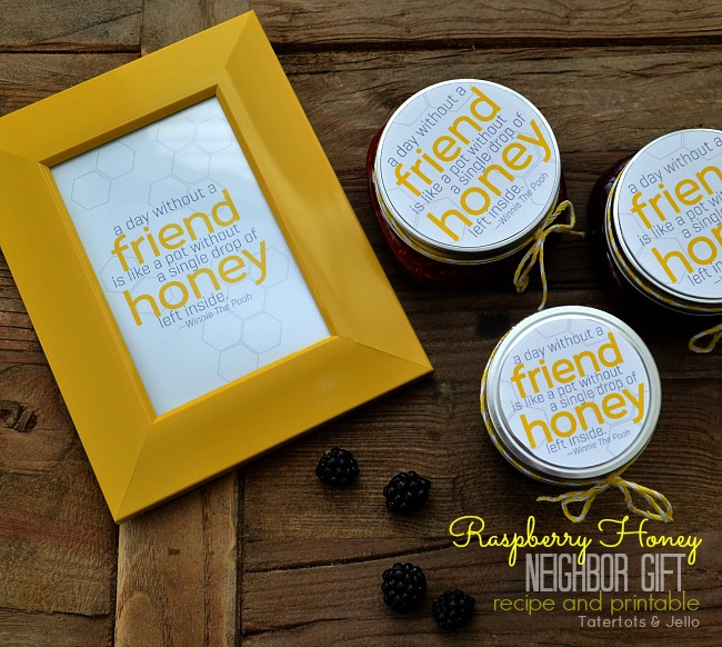 raspberry honey neighbor gift recipe and printable