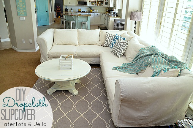 diy dropcloth slipcover tutorial at tatertots and jello