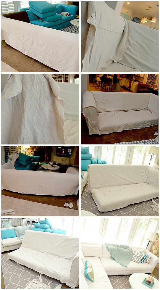 dropcloth slipcover DIY tutorial