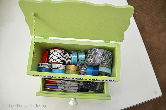 homework caddy with washi tape