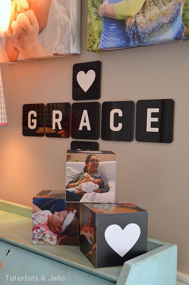 nursery nook coaster letters
