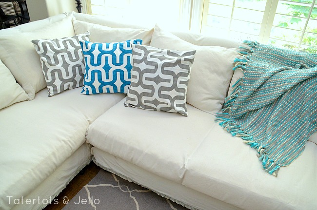 white dropcloth slipcover