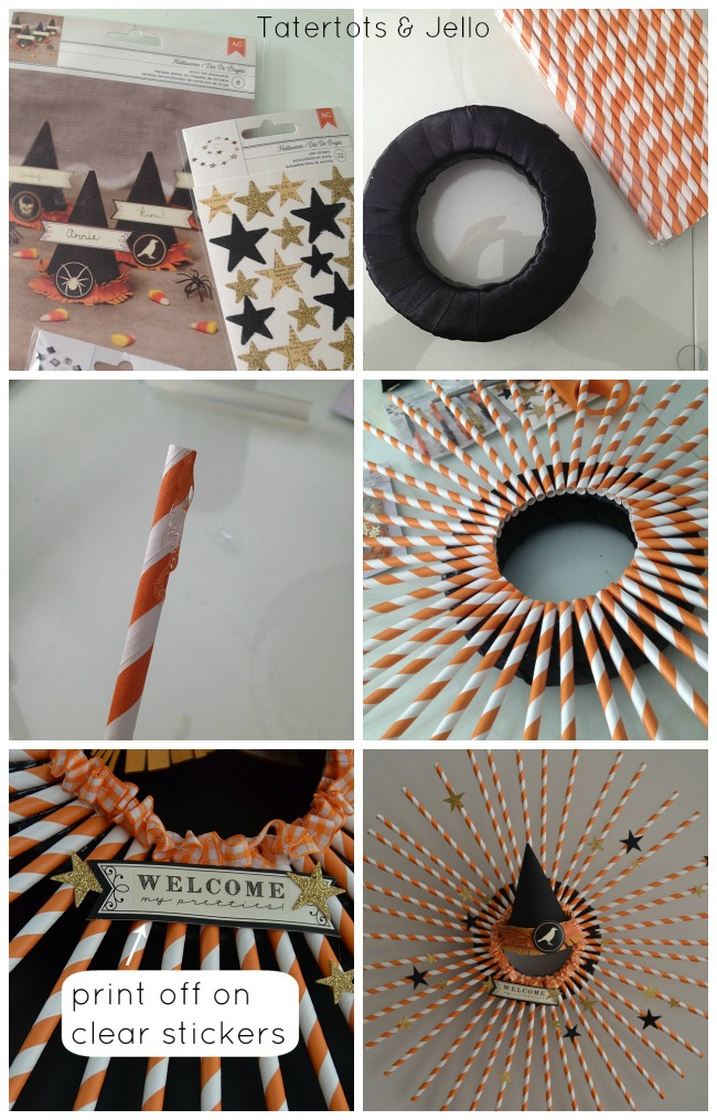 making the halloween straw wreath