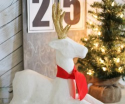 HAPPY Holidays: White Paper Mache Deer!