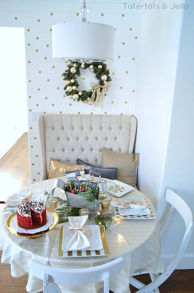 gold tablescape at tatertots and jello