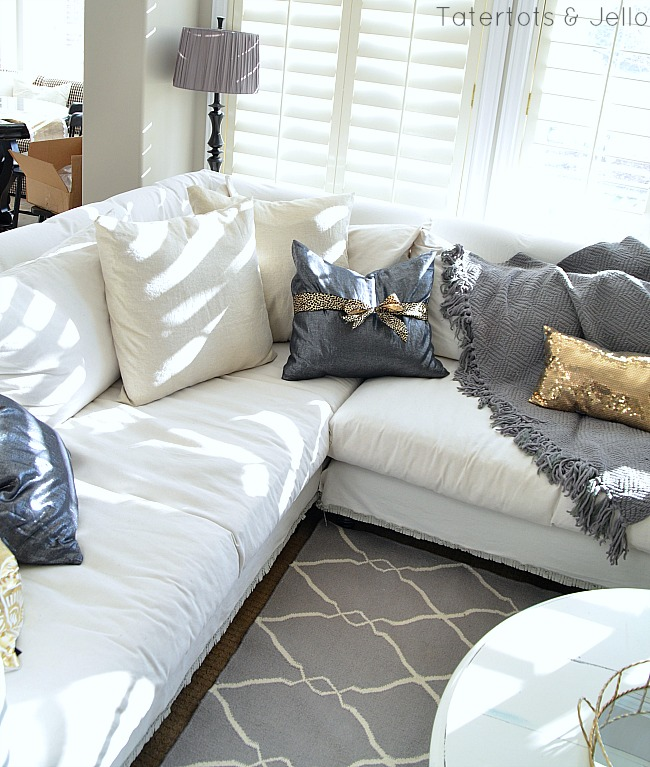 metallic linen pillows