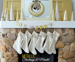 metallic stockings and mantel at tatertots and jello tutorial