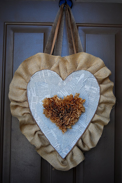 burlap and coffee filter heart