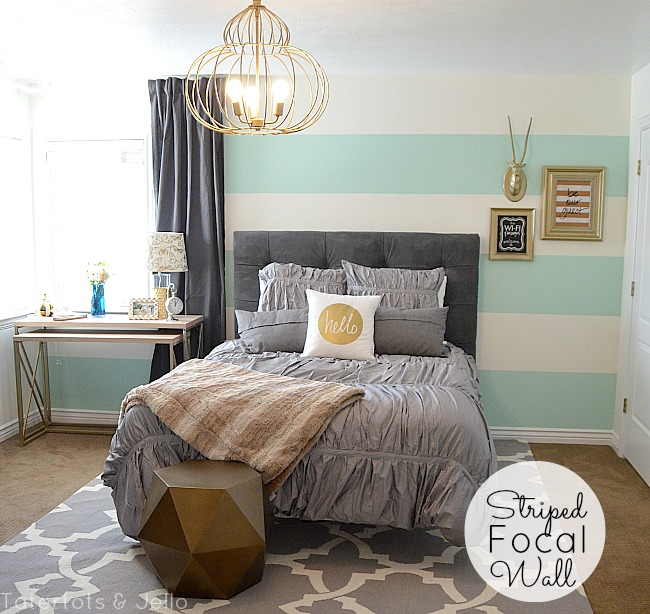 Aqua grey and gold guest bedroom reveal - Grey and gold bedroom ...