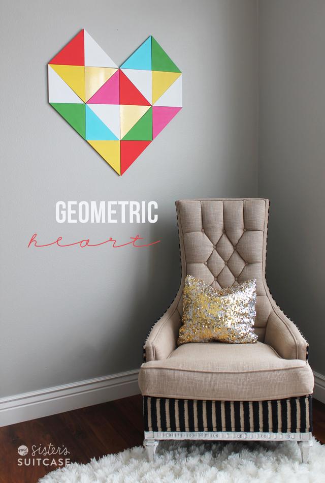 geometric heart wall art