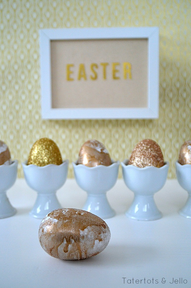 marbled gold easter eggs at tatertots and jello