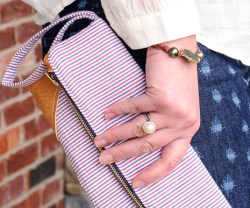 Seersucker & Leather Fold Over Clutch