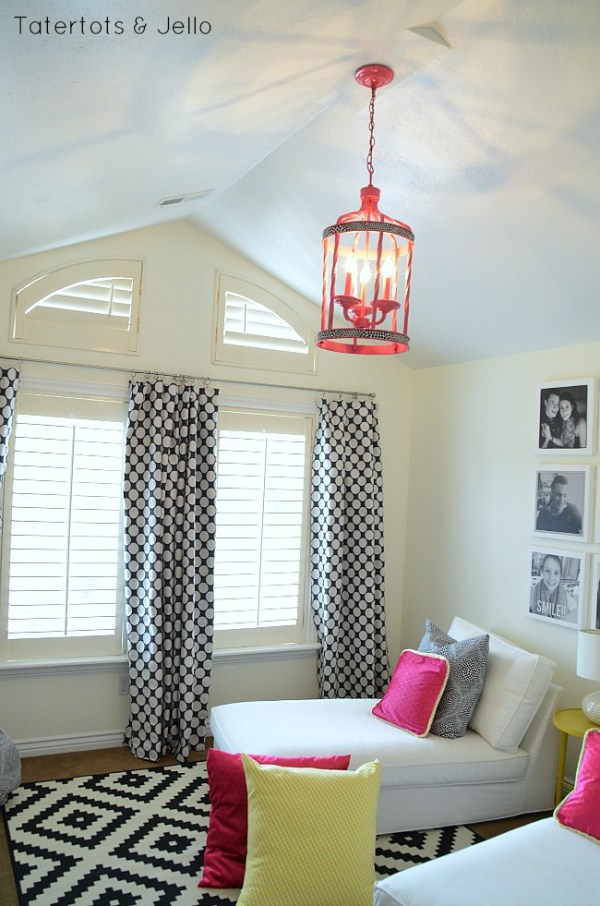 chandelier makeover for tween hangout room at tatertots and jello